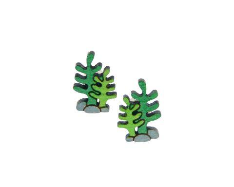 Seaweed Maple Hardwood Stud Earrings   Plant Jewelry   Hand Painted