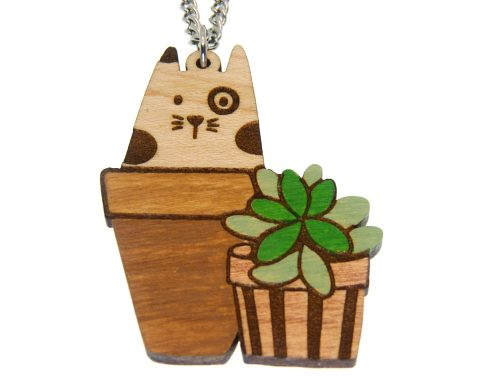 Cat in Pot with Plant Hand Painted Maple Hardwood Necklace