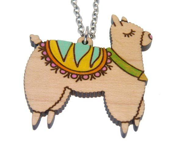 Festive Llama Hand Painted Maple Hardwood Necklace
