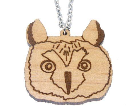 Owl Hand Drawn Maple Hardwood Necklace