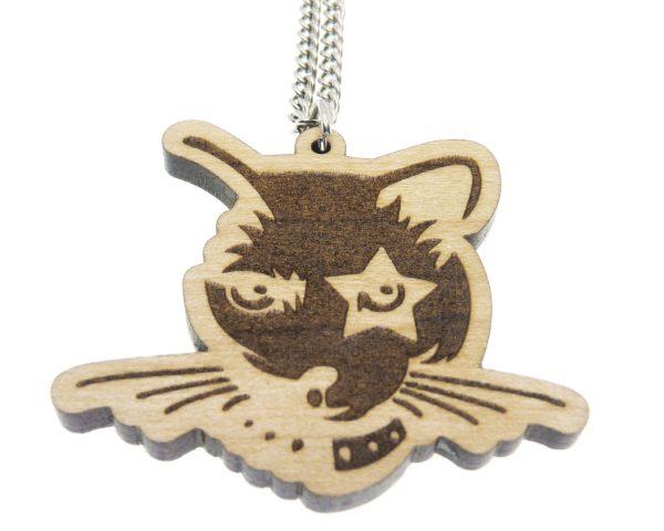 Rock Cat Maple Hardwood Necklace