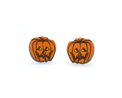 Jack O' Lanterns A01 Maple Hardwood Stud Earrings | Halloween Jewelry | Hand Painted