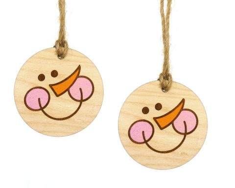 Snowman Face Small Maple Hardwood Ornament Pair | Set of 2 | Customizable |