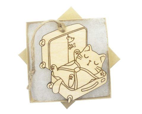 Cat in Suitcase Maple Wood Ornament   Customizable