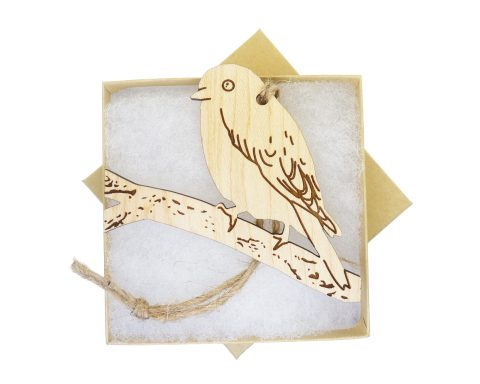 Blue Bird Maple Wood Ornament | Hand Drawn