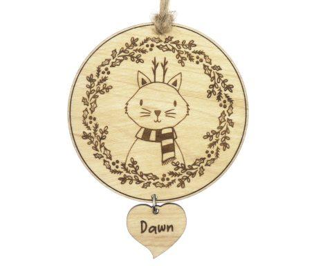 Cat Maple Wood Ornament | Customizable