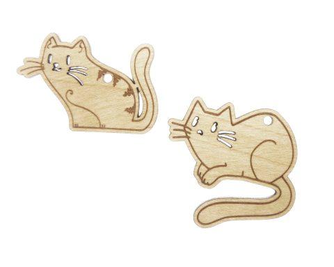 Cats Maple Hardwood Ornament Pair | Set of 2
