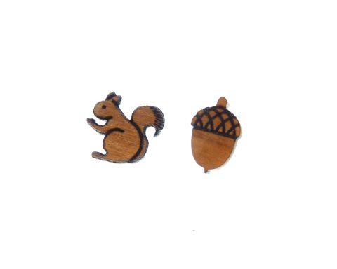 Squirrel and Acorn Cherry Wood Stud Earrings