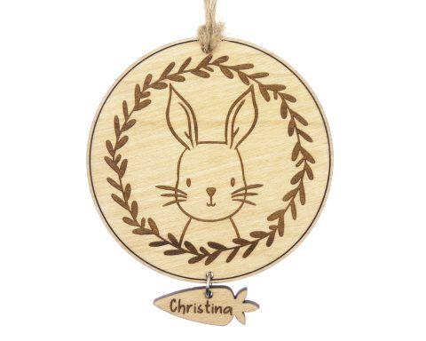 Bunny Rabbit Maple Wood Ornament | Customizable