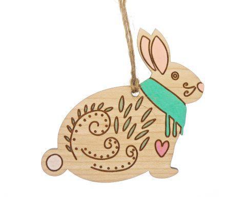 Scandinavian Bunny Maple Wood Ornament – Hand Painted
