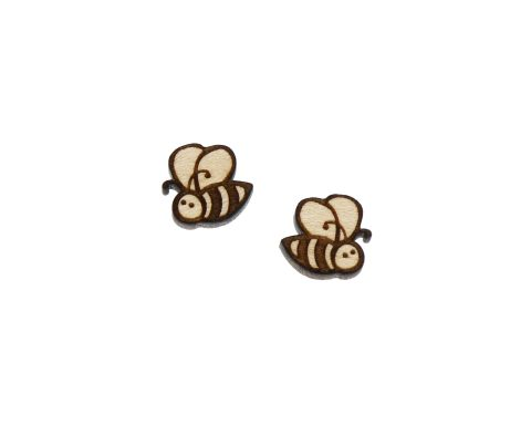 Bees A03 Engraved Wood Cabochons