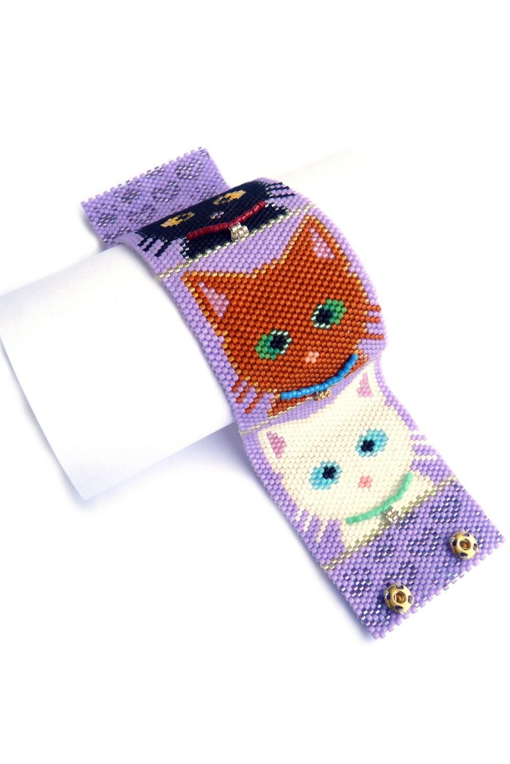 Pretty Kitties Wide Cuff Beaded Bracelet Cats