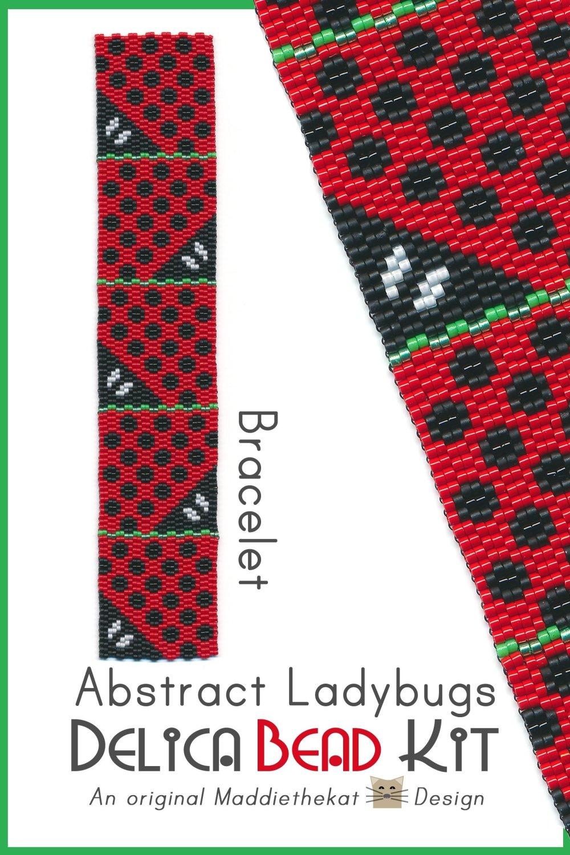 Abstract Ladybugs Bracelet Delica 2-Drop Peyote Bead Pattern or KIT DIY-Maddiethekat Designs