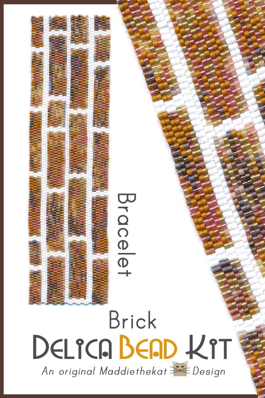 Brick Wall Wide Cuff Bracelet Delica 2-Drop Peyote Seed Bead Pattern or KIT DIY-Maddiethekat Designs