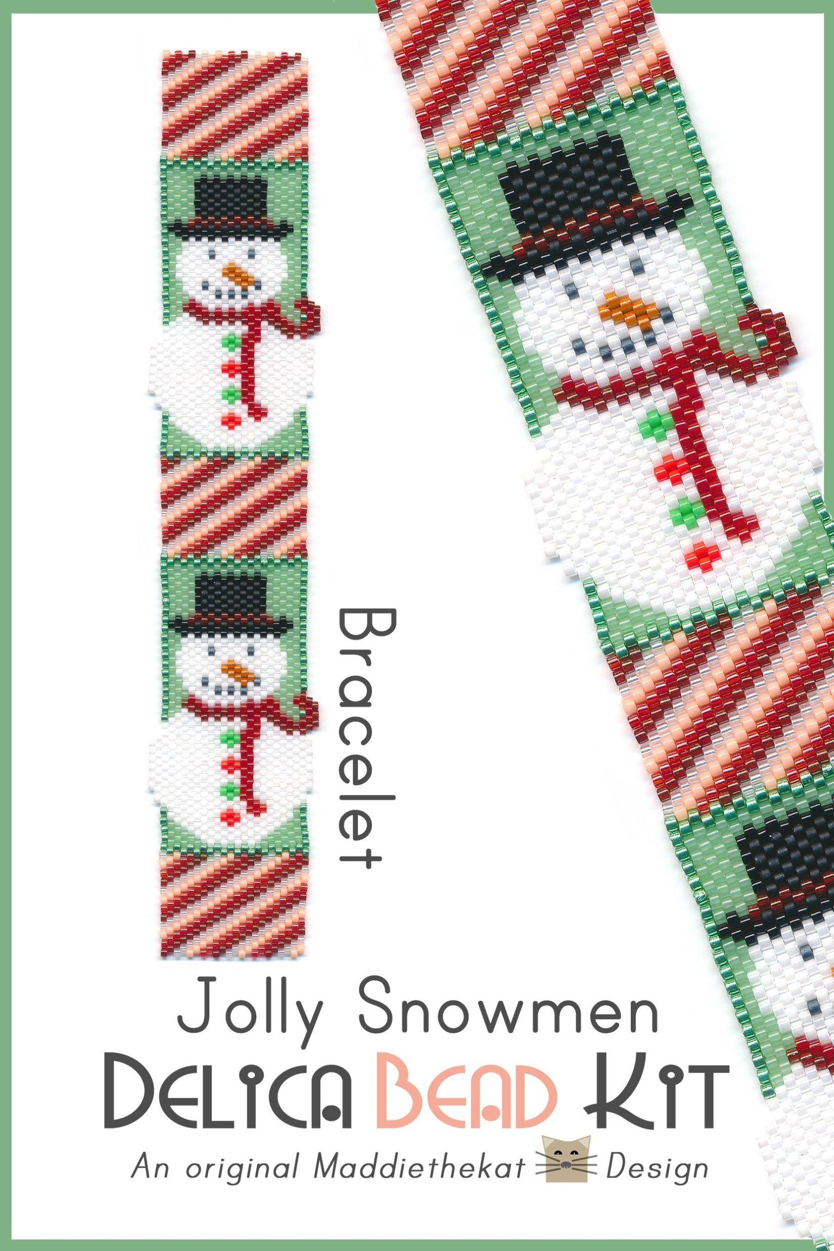 Jolly Snowmen Bracelet Peyote Bead Pattern or Bead Kit