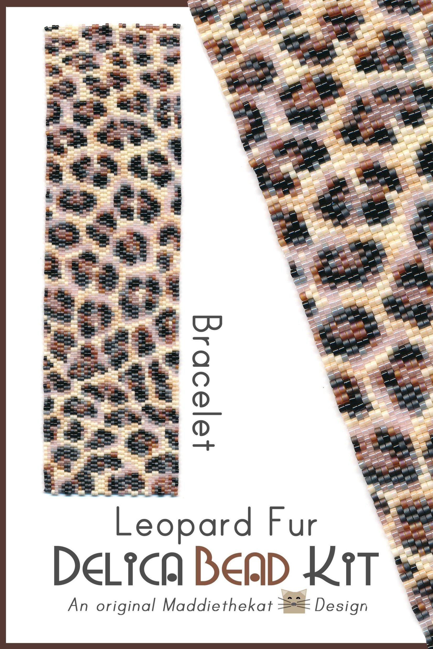 Leopard Fur Wide Cuff Bracelet 2-Drop Peyote Bead Pattern or Bead Kit