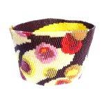 Painted Tree Wide Cuff 2-Drop Peyote Seed Beaded Bracelet-Maddiethekat Designs