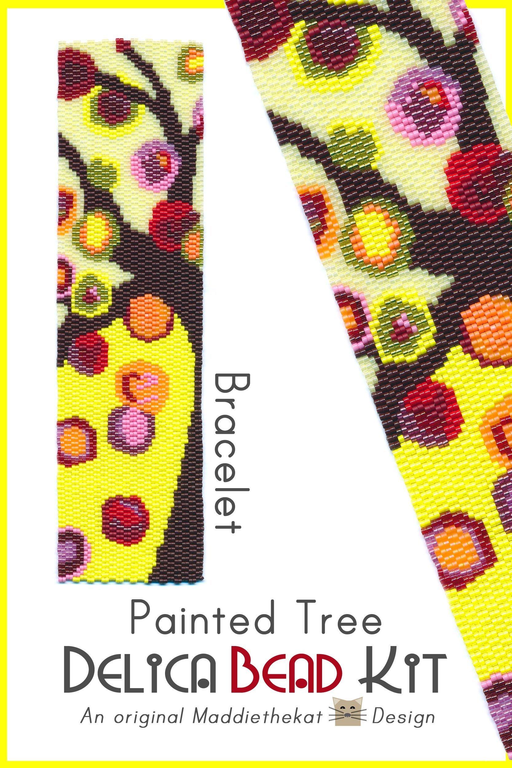 Painted Tree Wide Cuff Bracelet 2-Drop Peyote Bead Pattern or Bead Kit