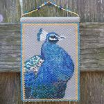 peacock beaded panel tapestry in peyote wall art bird maddiethekat designs 2 scaled