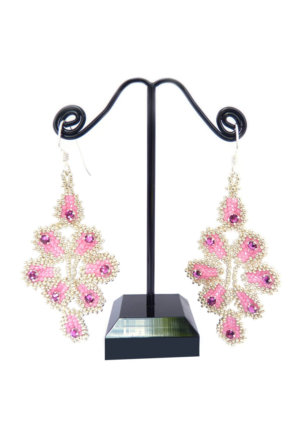 Ravenna Rose, Fuchsia and Silver Beaded Earrings