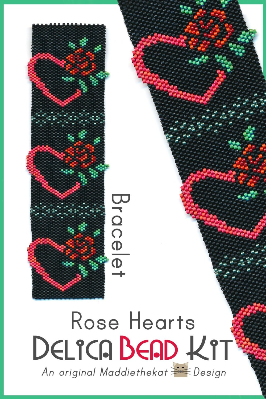 Rose Hearts Bracelet Peyote Bead Pattern or Bead Kit