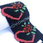 Red Rose Hearts Peyote Seed Beaded Bracelet-Maddiethekat Designs
