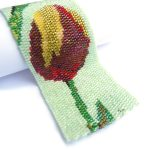 Tulip Flowers Wide Cuff 2-Drop Peyote Seed Beaded Bracelet-Maddiethekat Designs