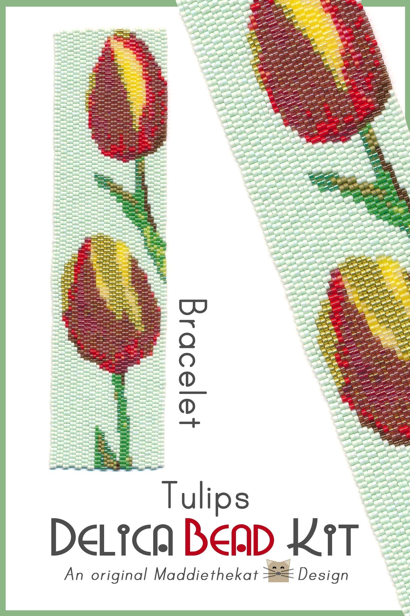 Tulips Wide Cuff Bracelet 2-Drop Peyote Bead Pattern PDF or Bead Kit