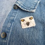 white owl delica seed beaded pin bird arctic snowy maddiethekat designs 2
