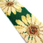 Yellow Flowers Wide Cuff 2-Drop Peyote Seed Bead Bracelet-Maddiethekat Designs
