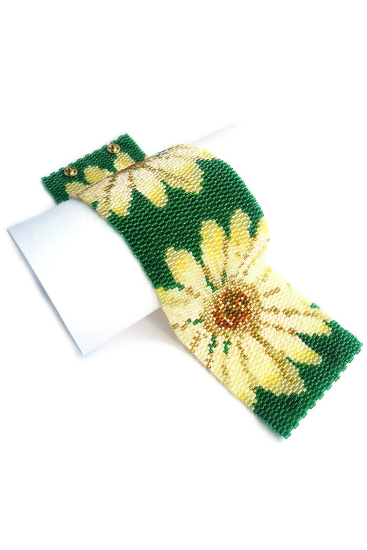 Yellow Flowers Wide Cuff Beaded Bracelet