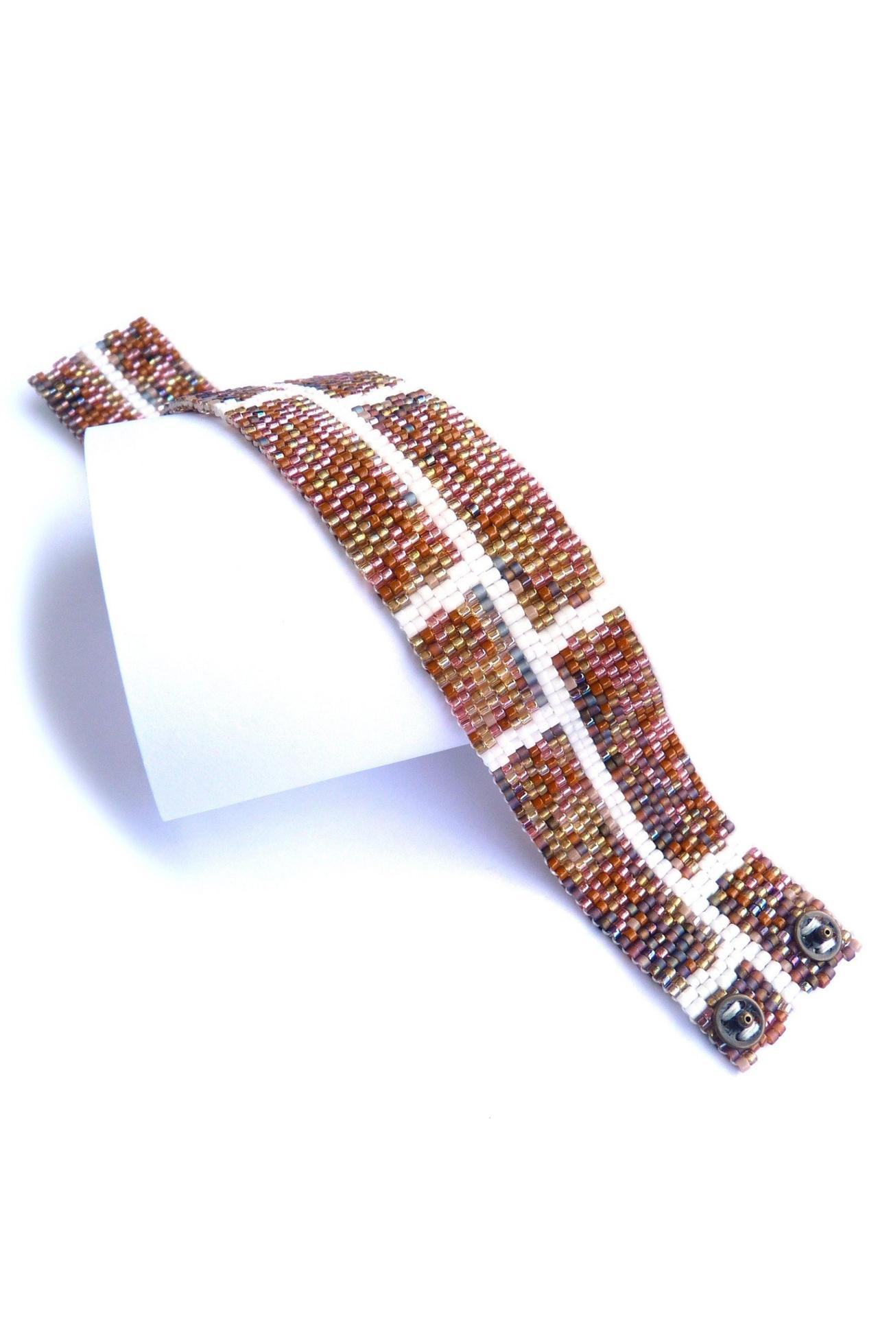 Brick Wall Slim Delica Seed Beaded Bracelet
