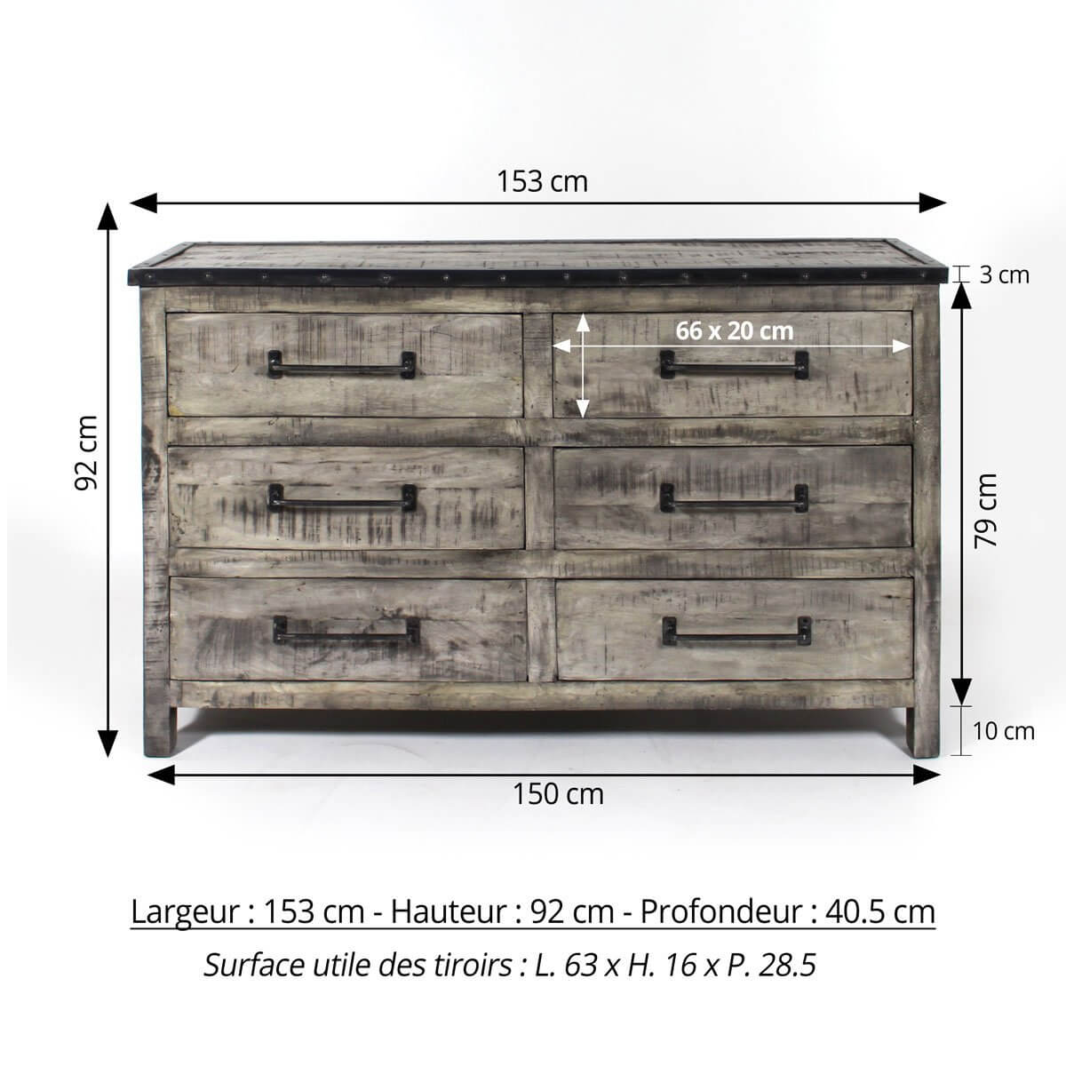 commode industrielle 153cm patine grise 6 tiroirs