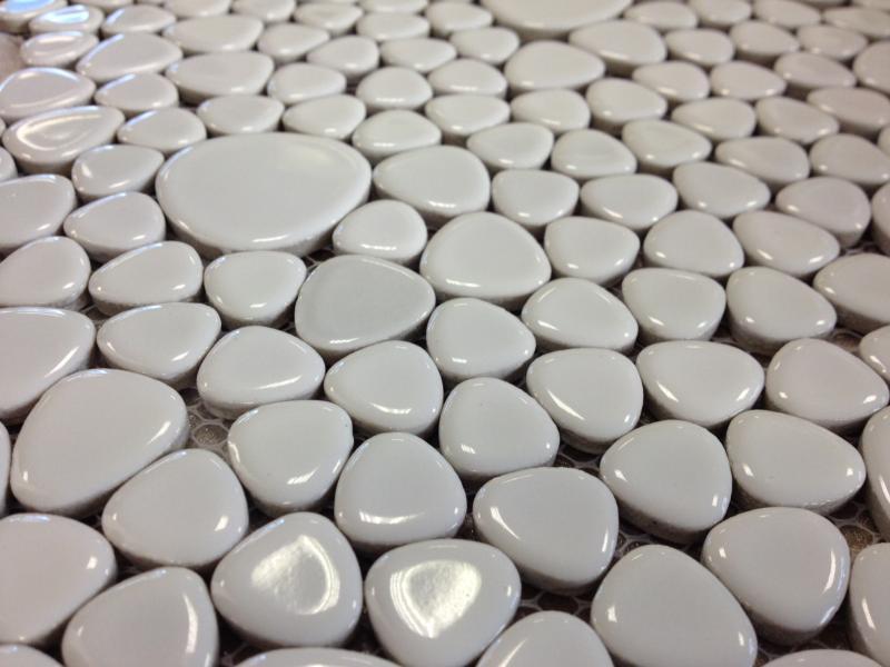 blanc mosaique galets emailles par 100g