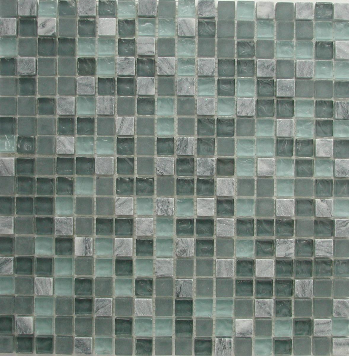 bleu mosaique mix bleu turquoise fonce et marbre gris pate de verre vetrocristal plaque 30 cm