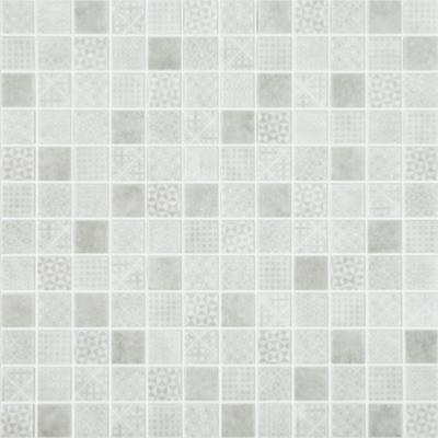 blanc gris impression carreaux de ciment mat satine mosaique emaux par plaque 31 7 cm