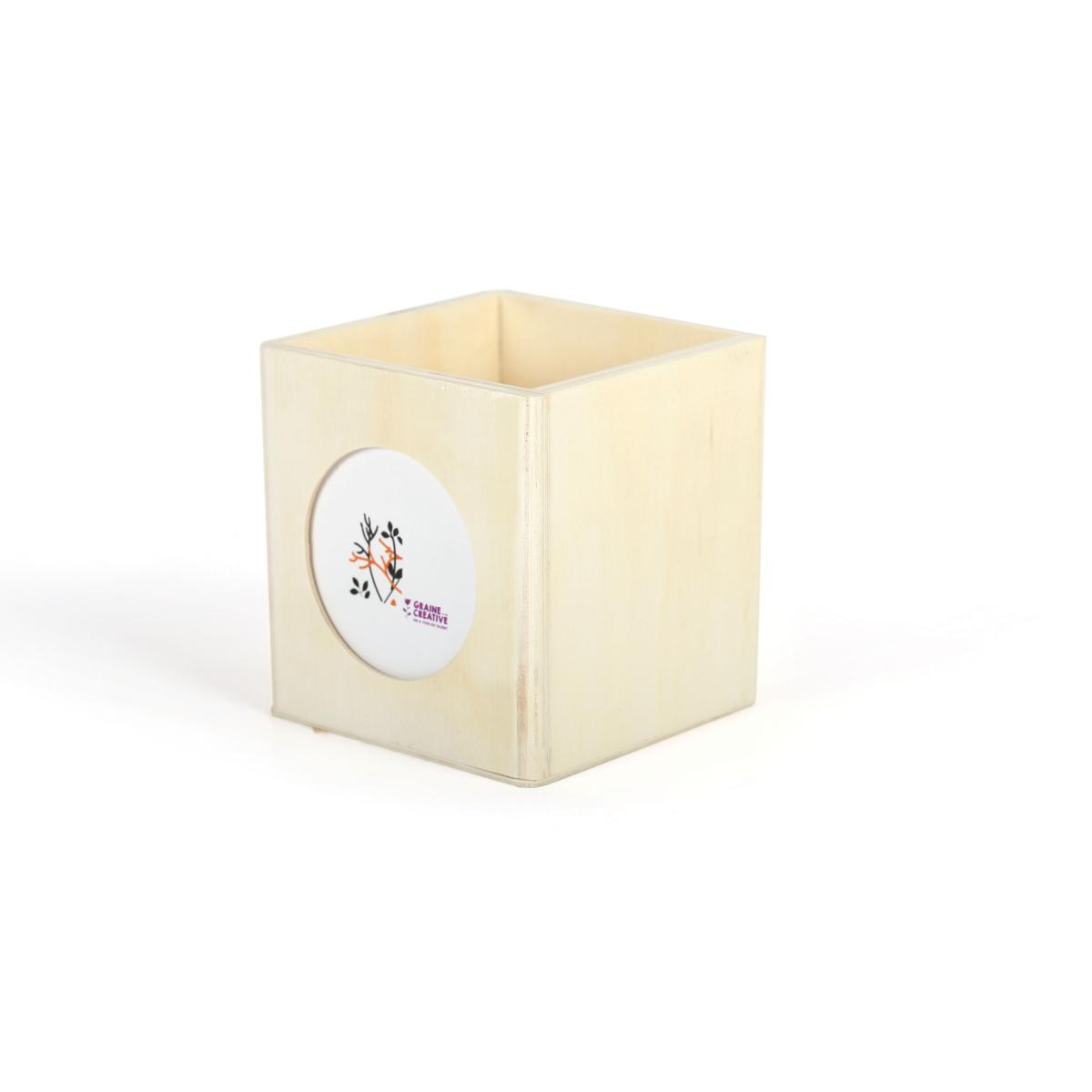 cube photo porte crayon 10 cm support bois pour mosaique