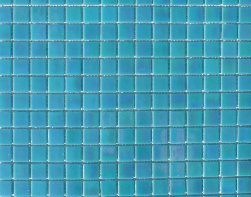 Mosaque pte de verre gloss nacr teinte bleu turquoise  Mosaque de pte de verre 2 cm plaquette