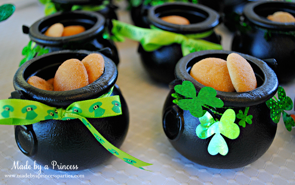 Kids St Patricks Day Party Ideas Nilla Wafers in leprechaun pots