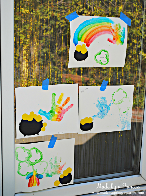 Kids St Patricks Day Party Ideas rainbow hand activity for preschoolers