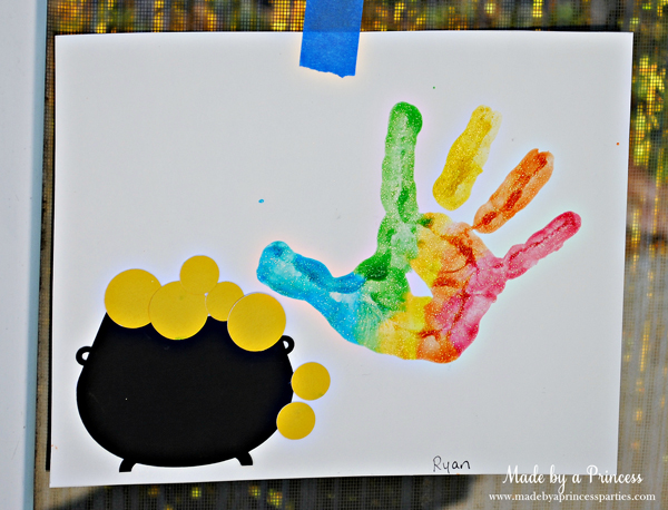 Kids St Patricks Day Party Ideas rainbow hand and pot of gold activity for preschoolers