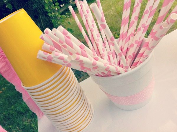 Lemonade Stand Paper cups and straws