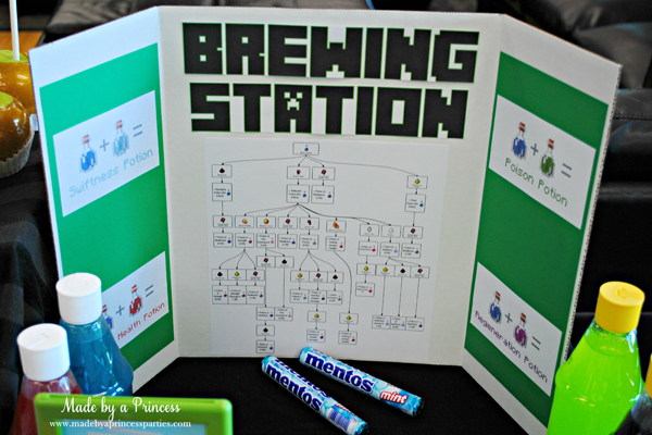 Ultimate Minecraft Birthday Party Brewing Station #minecraft #minecraftparty #minecraftbirthday #bestboyparty @madebyaprincess
