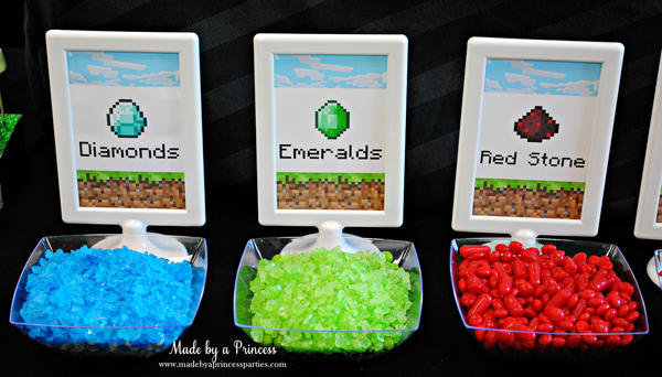 Ultimate Minecraft Birthday Party Food diamonds.emeralds.red stone #minecraft #minecraftparty #minecraftbirthday #bestboyparty