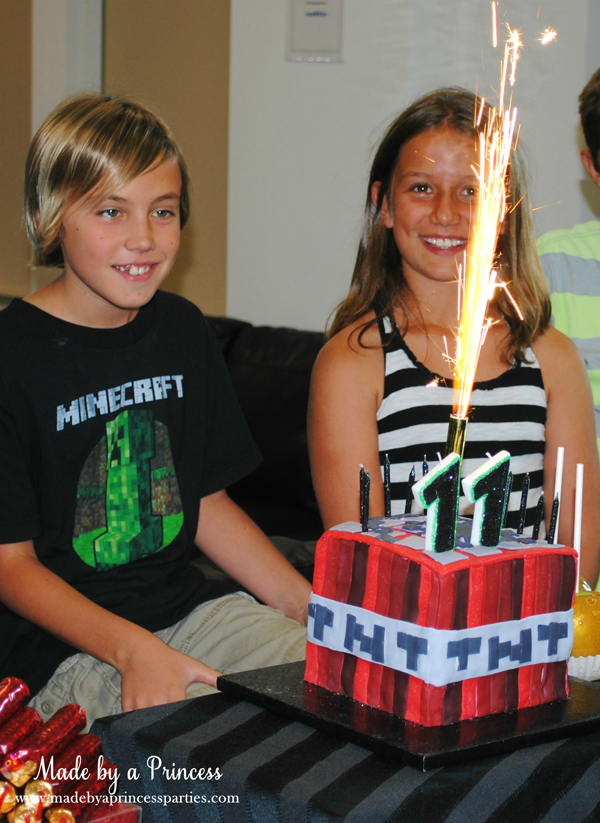 Ultimate Minecraft Birthday Party the kids loved the giant sparkler candle #minecraft #minecraftparty #minecraftbirthday