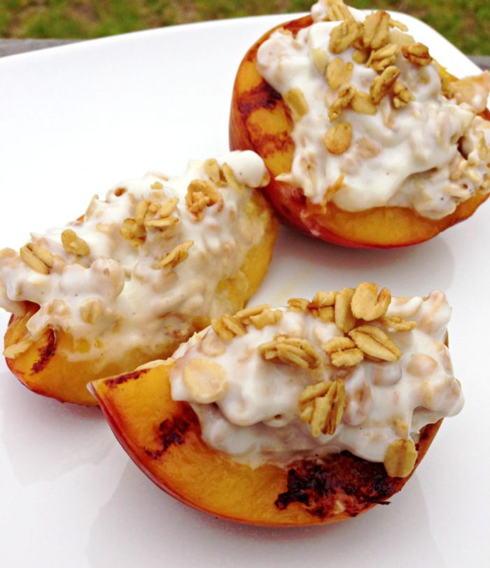 Yogurt and Granola Stuffed Peaches