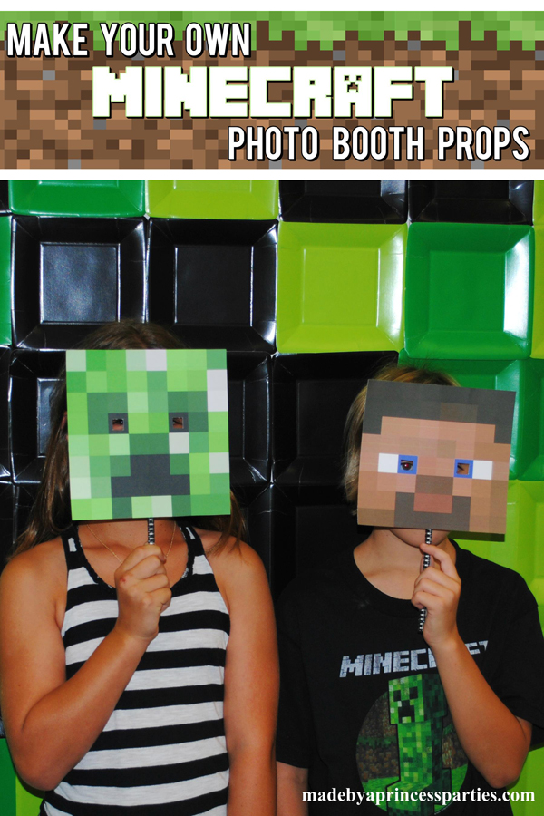 Make Your Own Minecraft Photo Booth Props and use plates to create a Creeper background