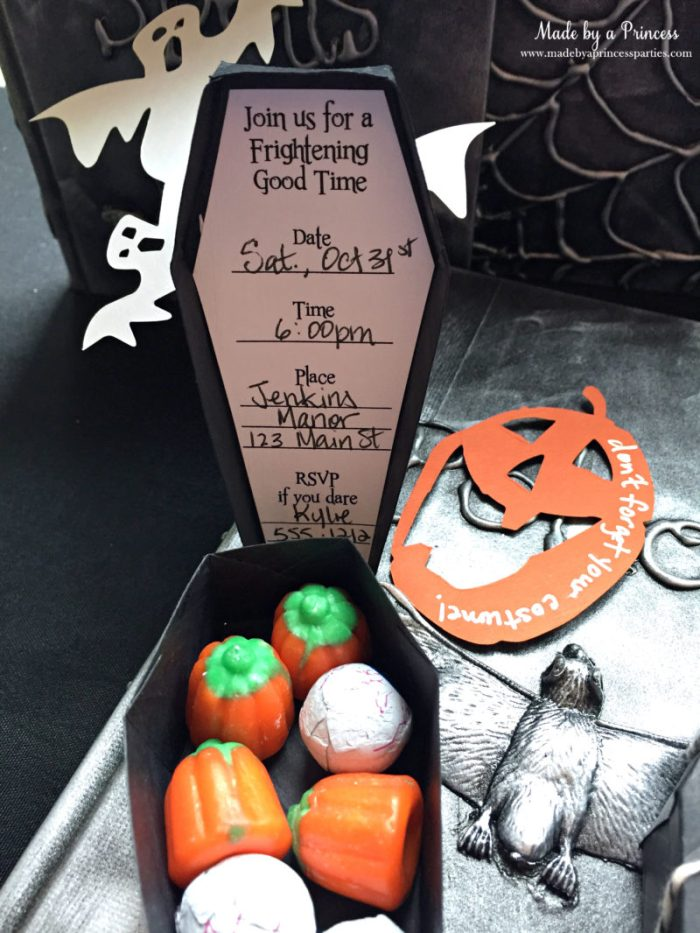 Spooky Halloween Coffin Invitations filled with candy