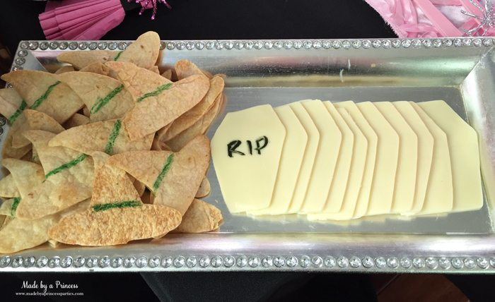 witch tea party crackers and cheese