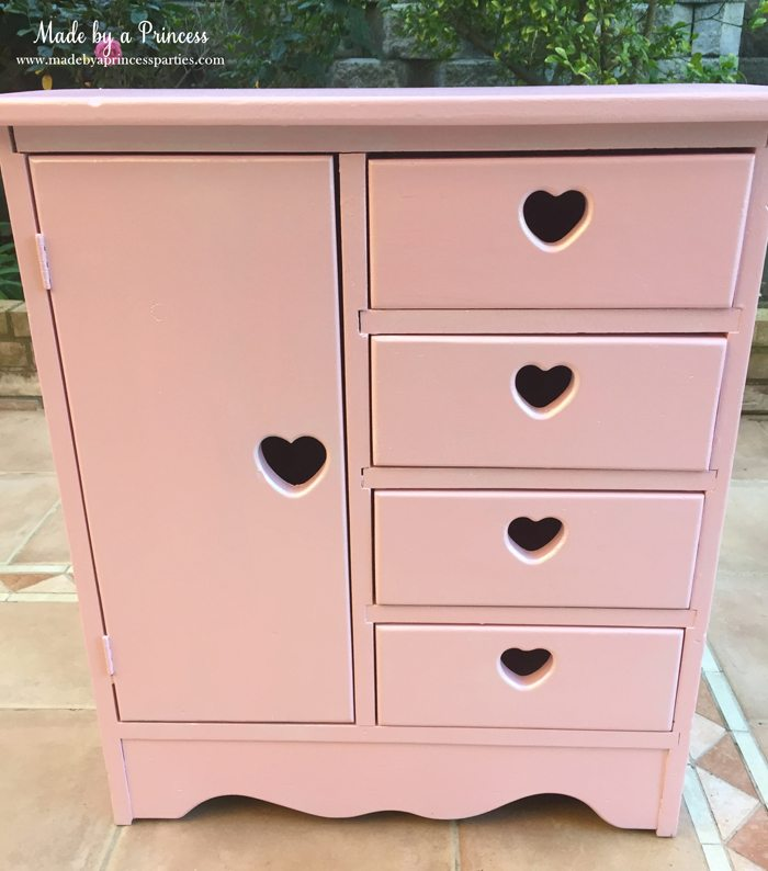 antique cabinet pink pearl makeover finished